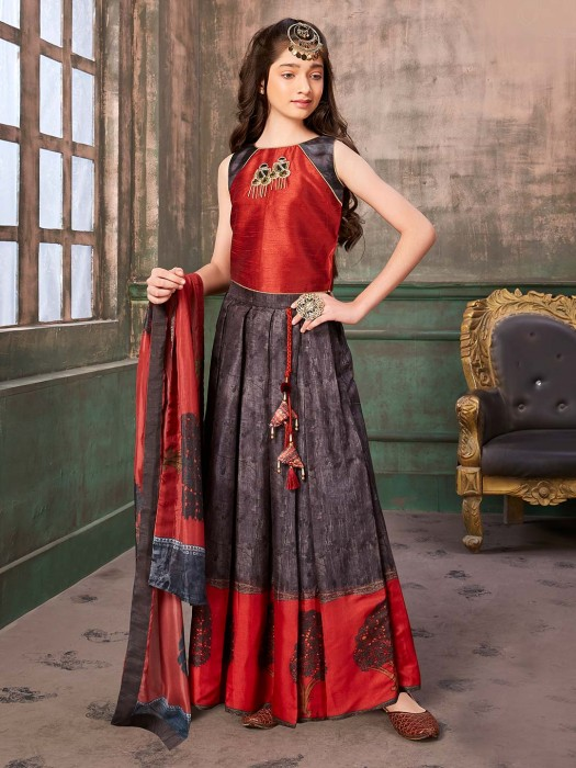 Maroon Hue Floor Length Raw Silk Anarkali Suit