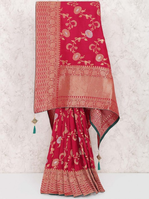 Maroon Hue Saree In Muga Silk