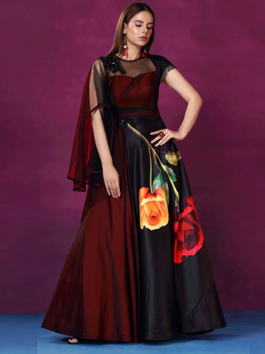 Maroon Hue Silk Wedding Gown