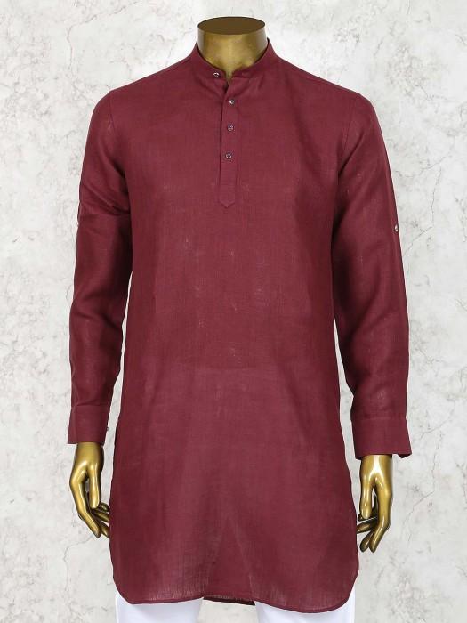 Maroon Hued Solid Festive Wear Short Pathani