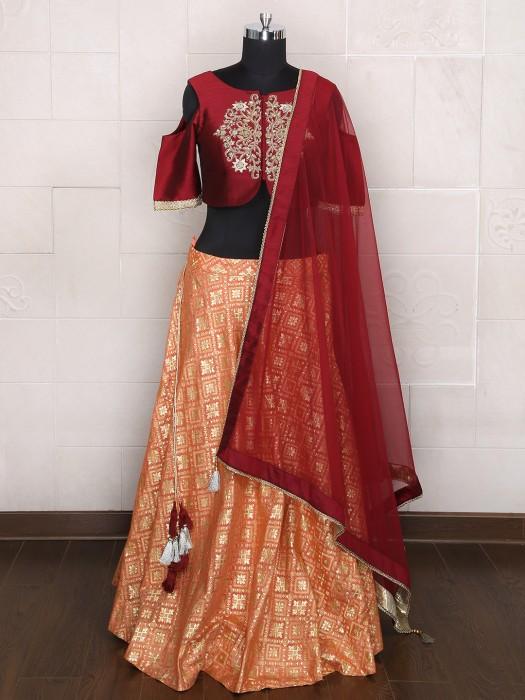 Maroon Peach Wedding Wear Lehenga Choli In Silk Fabric