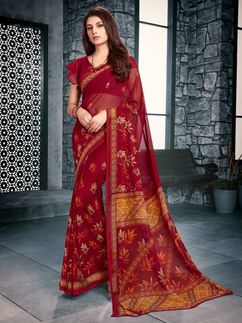 Maroon Printed Saree For Festive Look