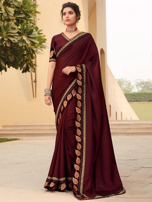 Maroon Satin Saree For Weddings