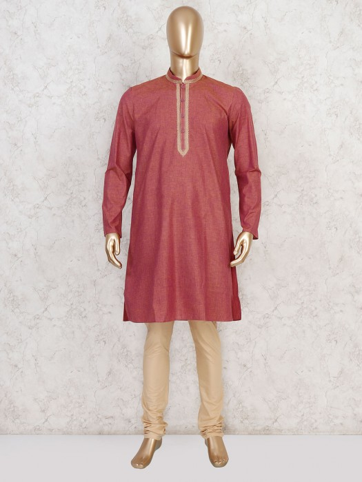 Maroon Solid Cotton Stand Collar Kurta Suit