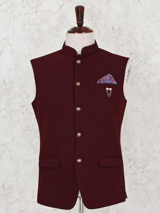 Maroon Solid Terry Rayon Mens Waistcoat