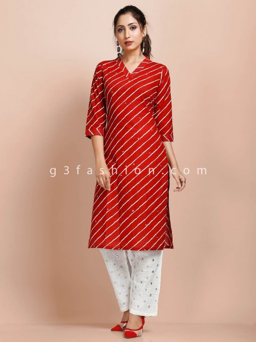 Maroon Stripe Casual Wear Pant Suit In Cotton