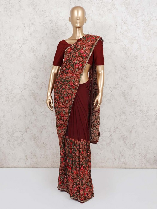 Maroon Wedding Designer Georgette Saree