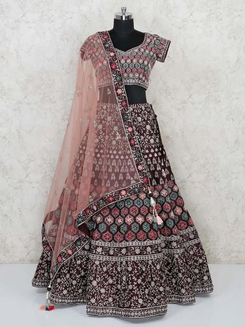 Maroon Wedding Designer Lehenga Choli In Silk