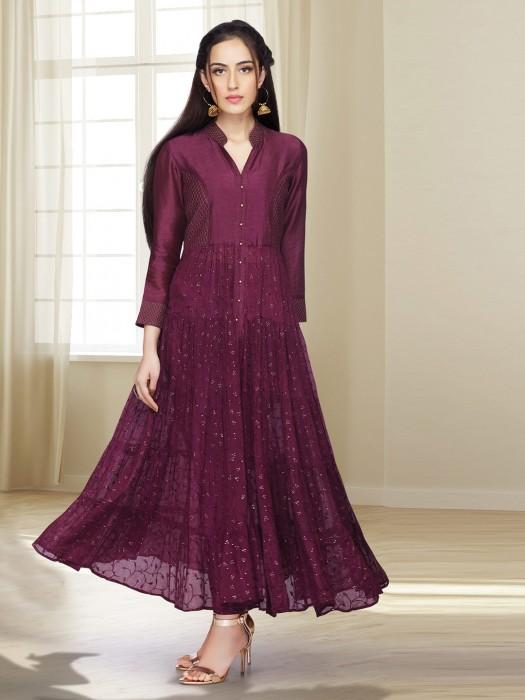 Maroon Wine Georgette Punjabi Salwar Suit