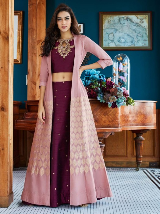 Maroon Wine Jacket Style Raw Silk Festive Lehenga Choli