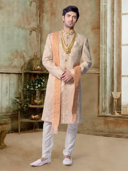 Marvelous Peach Silk Groom Sherwani Churidar Set