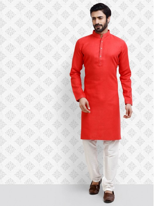 Mens Red Color Solid Cotton Fabric Kurta Suit