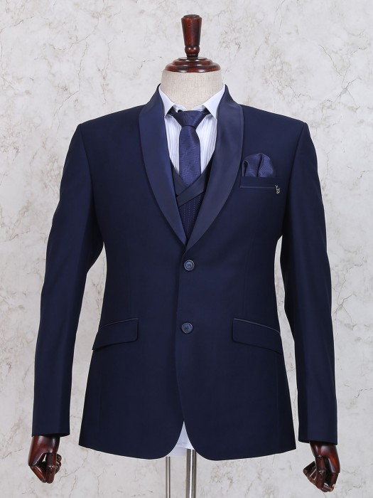 Mens Terry Rayon Navy Coat Suit