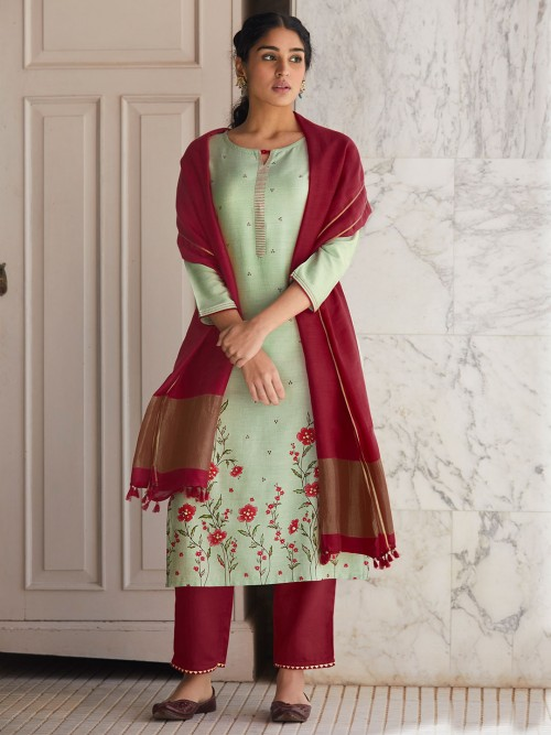 Mint Green And Maroon Festive Wear Cotton Suit