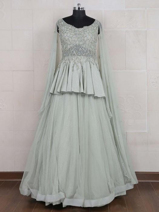 Mint Green Hue Net Fabric Gown
