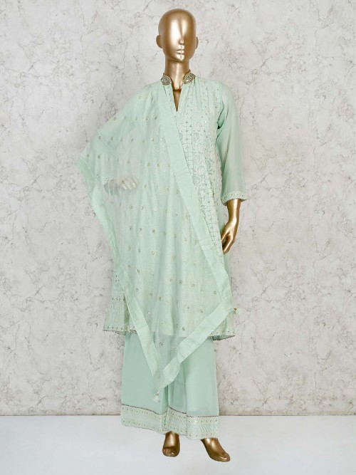 Mint Green Lucknowi Punjabi Palazzo Suit For Festive