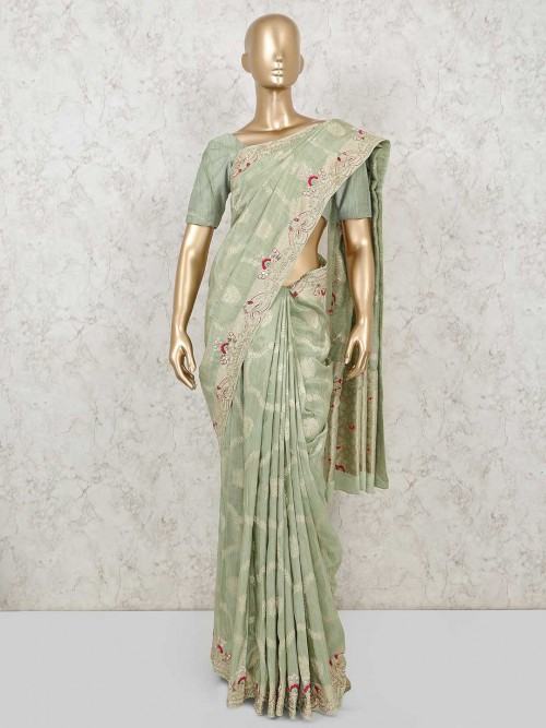 Mint Green Muga Silk Saree For Wedding Function