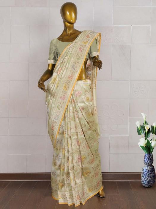 Mint Green Pure Banarasi Saree