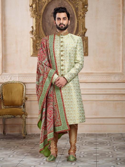Mint Green Sherwani For Wedding Function
