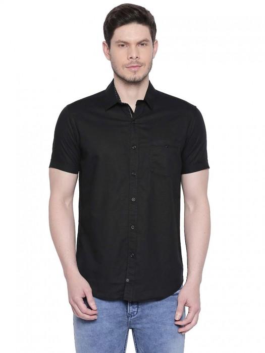 Mufti Solid Linen Black Shirt