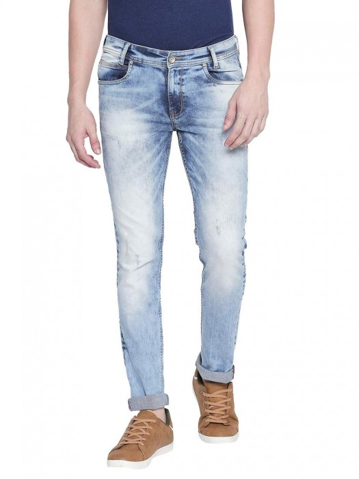 Mufti Washed Sky Blue Slim Fit Jeans
