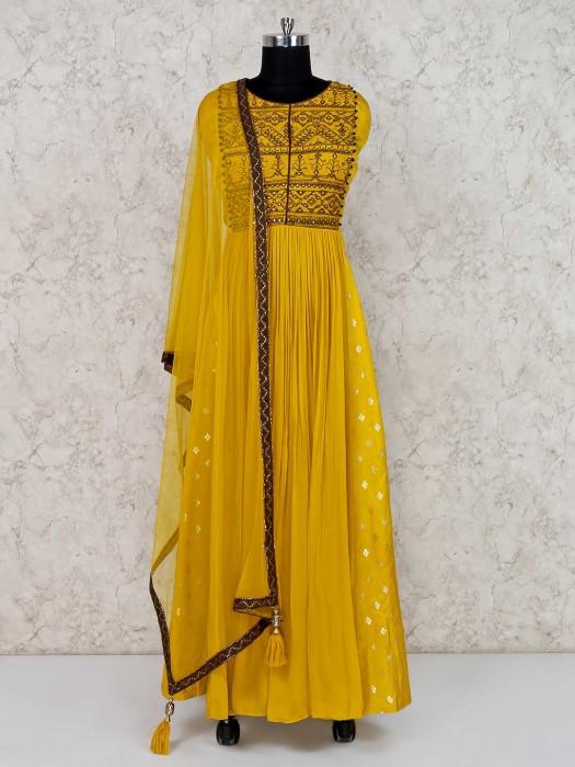 Mustard Yellow Anarkali Suit In Georgette
