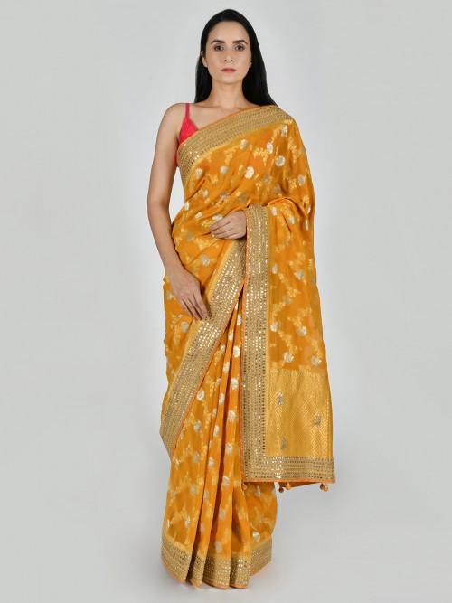 Mustard Yellow Art Khadi Silk Saree In Floral Zari Weaving Jaal