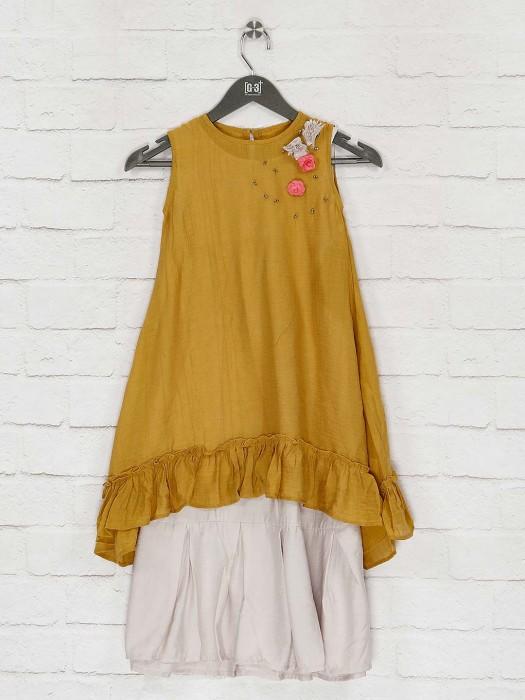 Mustard Yellow Casual Wear Cotton Kurti