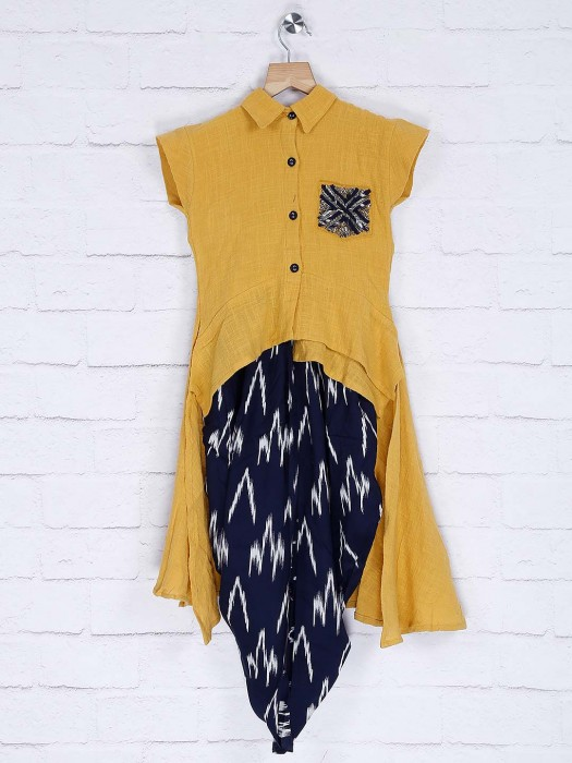 Mustard Yellow Colored Cotton Fabric Dhoti Suit