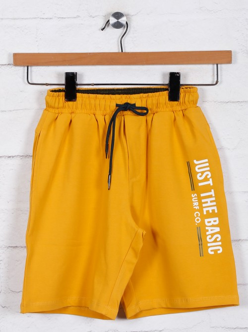 Mustard Yellow Cotton Boys Shorts