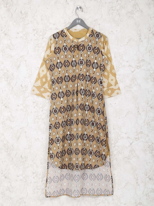 Mustard Yellow Cotton Printed Kurti