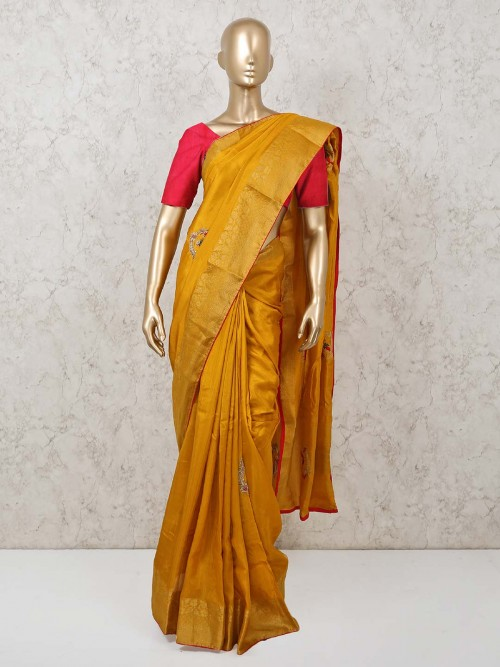 Mustard Yellow Dola Silk Saree For Wedding And Party