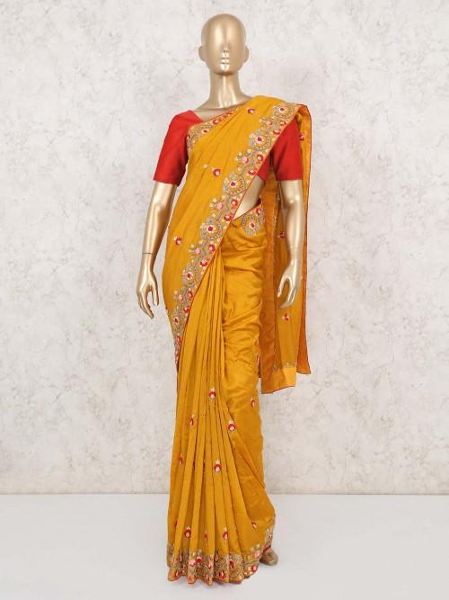 Mustard Yellow Embroidery Wedding Saree In Muga Silk
