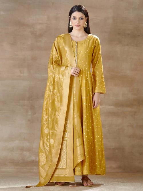 Mustard Yellow Floor Length Anarkali Suit In Cotton Silk