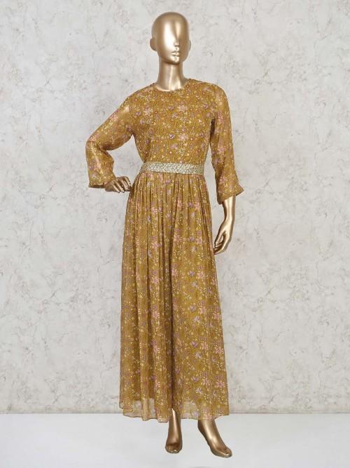 Mustard Yellow Floor Length Cotton Anarkali Suit