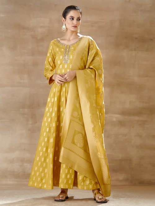 Mustard Yellow Floor Length Cotton Silk Anarkali Suit