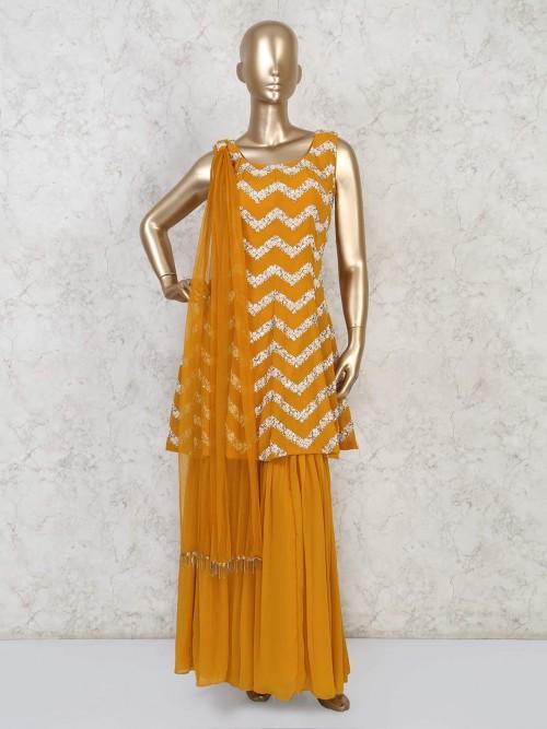 Mustard Yellow Georgette Festive Sharara Suit