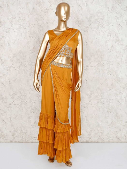 Mustard Yellow Georgette Indo Western Sharara Suit