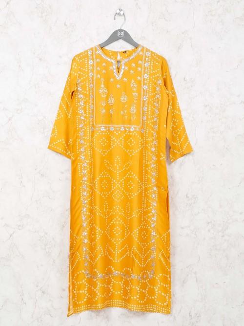 Mustard Yellow Printed Tunic In Cotton