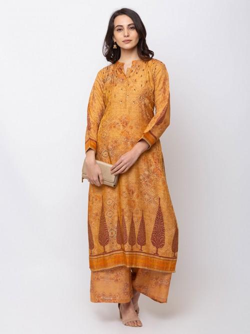 Mustard Yellow Punjabi Palazzo Suit In Cotton