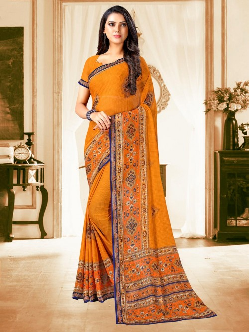 Mustard Yellow Saree For Festive In Georgette