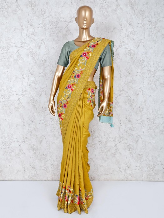 Mustard Yellow Saree In Silk