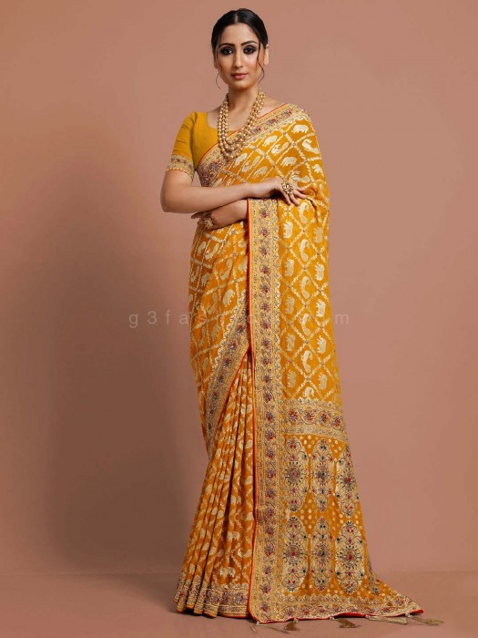 Mustard Yellow Traditional Wear Saree In Georgette
