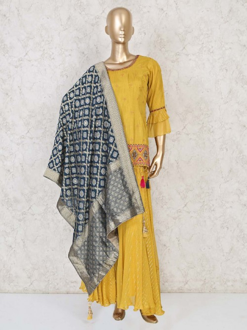 Mustrad Yellow Cotton Silk Salwar Suit For Festivals