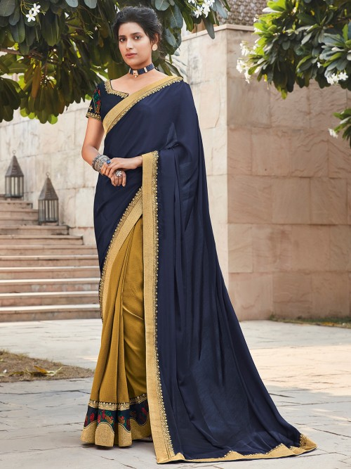 Navy And Gold Half And Half Satin Saree For Weddings
