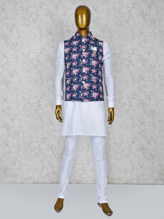 Navy And White Color Terry Rayon Party Waistcoat Set