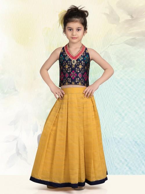 Navy And Yellow Cotton Silk Lehenga Choli