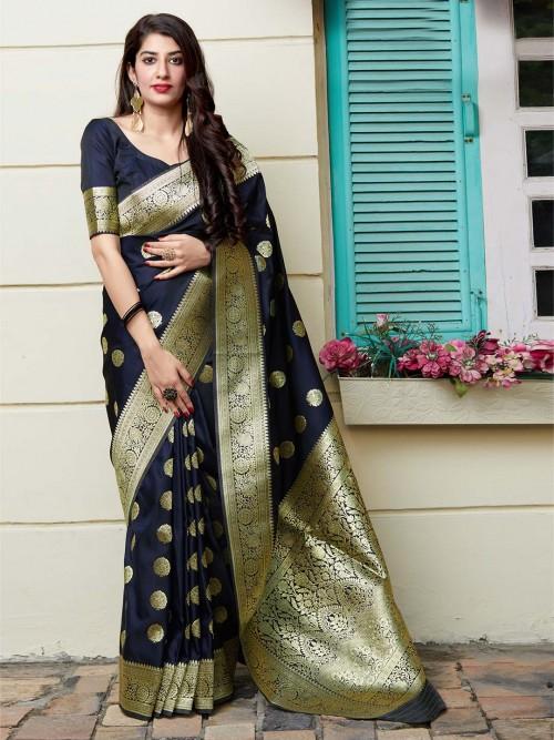 Navy Banarasi Silk Saree For Parties