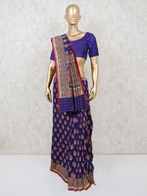 Navy Banarasi Silk Saree In Party Wear