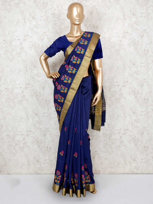 Navy Beautiful Cotton Silk Saree
